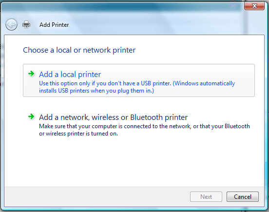Vista's Add Printer Screen, with the correct option (Add a local printer) highlighted.
