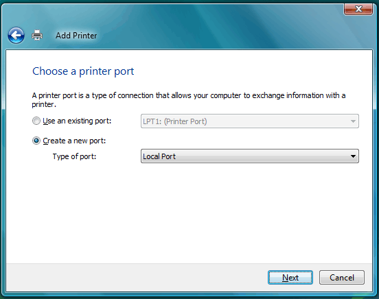 "Choose a Printer Port selection screen, with the ""Create a new port"" option selected."