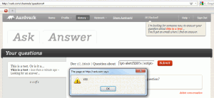 The second XSS vulnerability, when changing the topic of a question