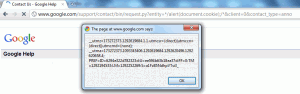 The XSS vulnerability in action (in Google Chrome)