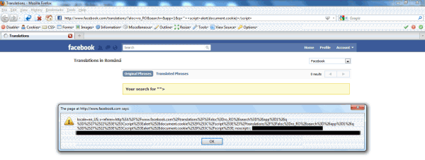A reflected XSS vulnerability in the search functionality for translations.